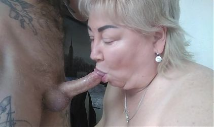 mature mother-in-law sucks my cock and gets cum on big tits
