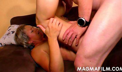 Blonde milf honey taking a hard shaft