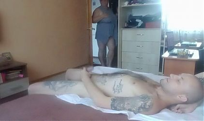 jerking off my cock in the room with her hands and tits