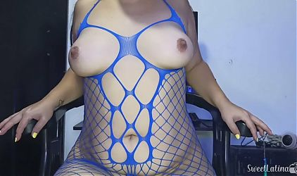 Anal POV with an ass in blue mesh