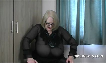 Huge titted mature gran in see-through top and black leggings