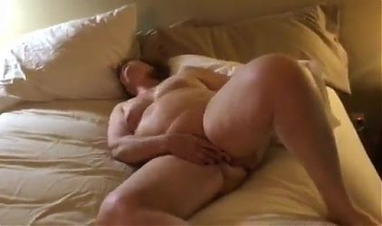 Old chubby masturbates pussy and ass