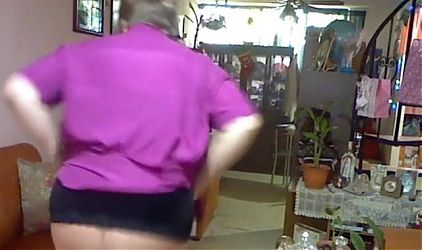 Old woman is dancing in her pantyhose 1